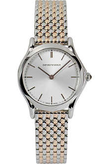 EMPORIO ARMANI SWISS ARS7001 Slim stainless steel and rose gold-toned watch