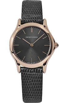 EMPORIO ARMANI SWISS ARS7003 rose gold-toned plated and lizard watch