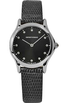 EMPORIO ARMANI SWISS ARS7502 stainless steel and lizard-skin watch