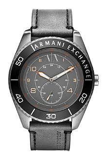 ARMANI EXCHANGE AX1266 stainless steel and leather watch