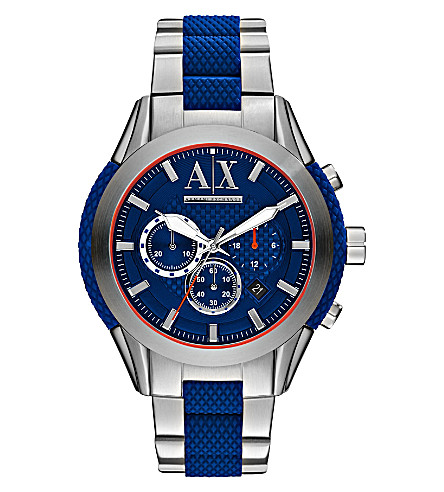 ARMANI EXCHANGE AX1386 silicone and steel watch (Blue