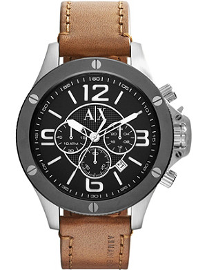 ARMANI EXCHANGE AX1509 chronograph watch with leather strap