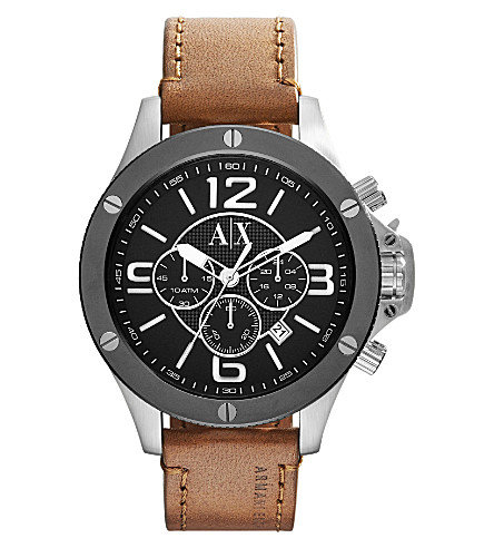 ARMANI EXCHANGE AX1509 watch with leather strap (Black