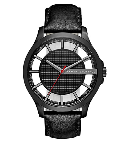 ARMANI EXCHANGE AX2180 stainless steel and leather watch