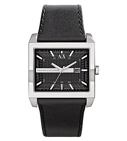 ARMANI EXCHANGE ax2203 leather strap watch (Black