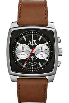 ARMANI EXCHANGE AX2251 stainless steel and leather chronograph watch