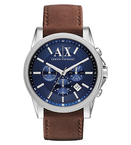 ARMANI EXCHANGE AX2501 stainless steel and leather watch (Blue