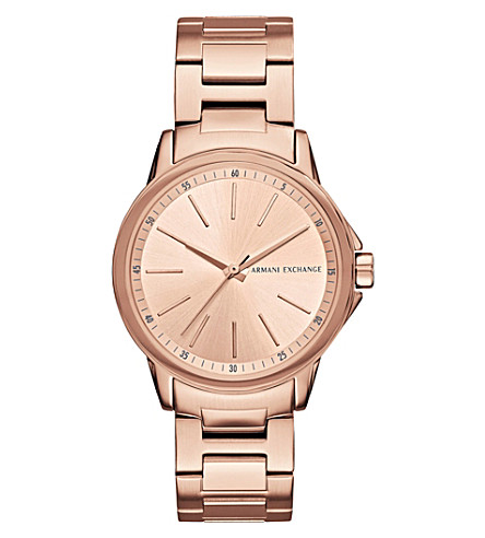 ARMANI EXCHANGE AX4347 rose-gold plated stainless steel watch