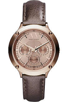ARMANI EXCHANGE AX5404 leather and rose gold-toned watch
