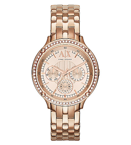 ARMANI EXCHANGE AX5406 rose gold-toned watch (Rose+gold
