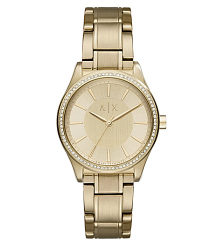 ARMANI EXCHANGE AX5441 crystal-embellished gold watch