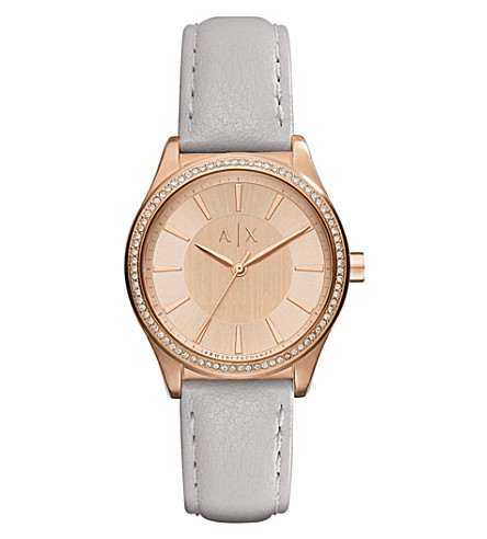 ARMANI EXCHANGE AX5444 crystal-embellished rose-gold plated watch