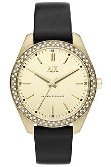 ARMANI EXCHANGE AX5507 gold-plated PVD and leather watch