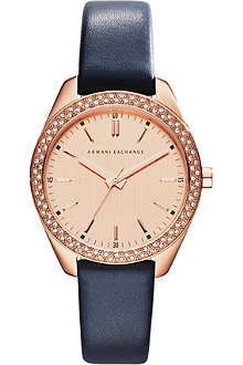 ARMANI EXCHANGE AX5508 rose gold-plated PVD and leather watch