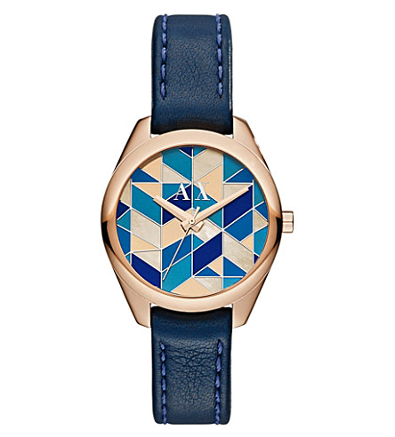 ARMANI EXCHANGE AX5525 stainless steel and leather watch (Blue