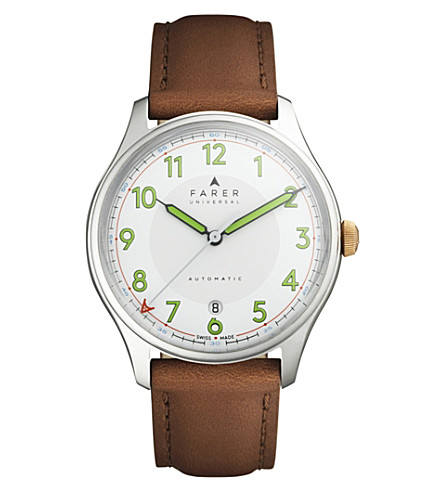 FARER Beagle stainless steel and leather watch