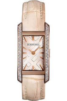 BURBERRY BU1119 diamond and leather watch