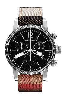 BURBERRY BU7815 stainless steel and leather chronograph watch