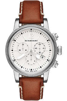 BURBERRY BU7817 The Utilitarian steel and leather chronograph watch