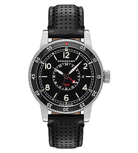 BURBERRY BU7854 The Utilitarian stainless steel and leather watch (Black