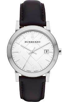 BURBERRY BU9008 stainless steel and leather watch