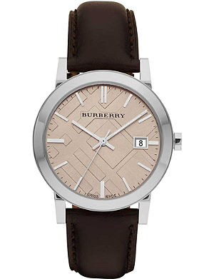 BURBERRY BU9011 stainless steel and leather watch