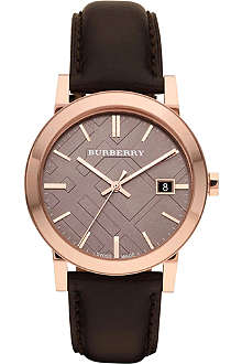 BURBERRY BU9013 rose gold-plated and leather strap