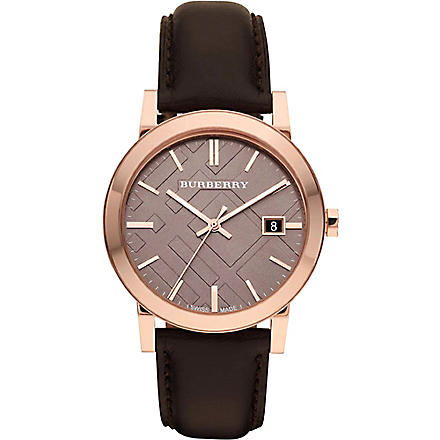 BURBERRY BU9013 rose gold-plated and leather strap (Brown