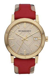 BURBERRY BU9017 gold-plated and leather watch
