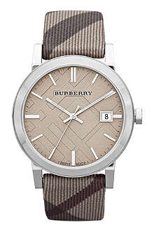 BURBERRY BU9023 stainless steel and fabric watch