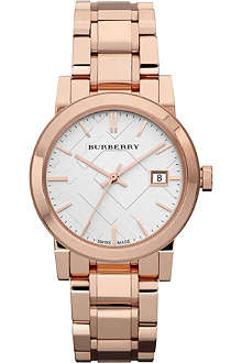 BURBERRY BU9104 Rose gold-plated stainless steel watch
