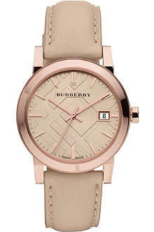 BURBERRY BU9109 rose gold-plated and leather strap