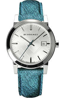 BURBERRY BU9120 The City stainless steel and leather watch