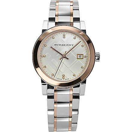 BURBERRY BU9127 The City steel and rose gold-plated watch (Silver