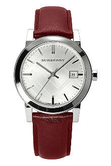 BURBERRY BU9129 stainless steel and leather watch