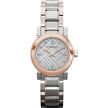 BURBERRY BU9214 steel & rose gold diamond marker watch (Silver