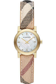 BURBERRY The City BU9226 gold-toned check-strap watch