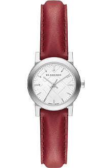 BURBERRY BU9232 stainless steel and red leather watch