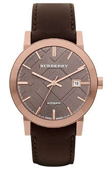 BURBERRY BU9303 rose gold-plated and leather watch