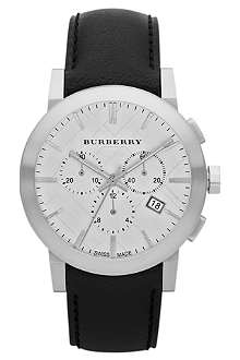 BURBERRY BU9355 stainless steel and leather chronograph watch