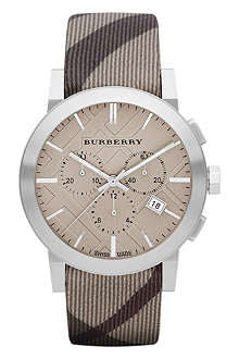 BURBERRY BU9358 stainless steel and fabric watch