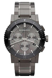 BURBERRY Gunmetal chronograph watch