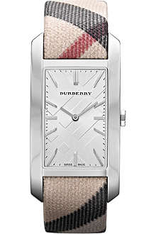 BURBERRY BU9403 stainless steel and fabric rectangular watch
