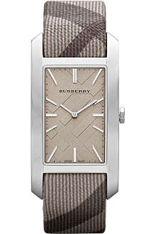 BURBERRY BU9404 stainless steel and fabric rectangular watch