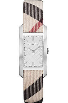 BURBERRY BU9503 Stainless steel and fabric rectangular watch