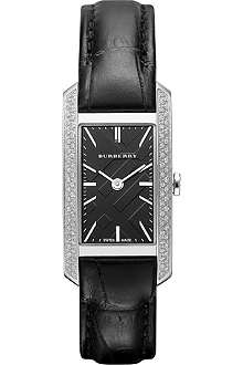BURBERRY BU9507 diamond-set stainless steel and leather watch