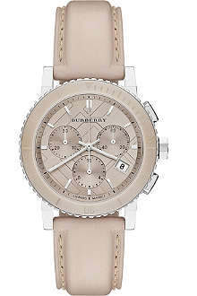 BURBERRY BU9702 The City steel and leather chronograph watch