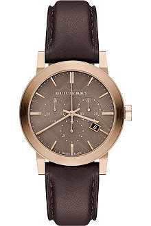 BURBERRY BU9755 gold-toned and leather watch