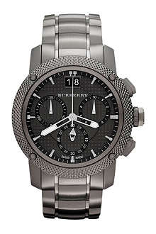 BURBERRY BU9801 gunmetal-plated chronograph sports watch