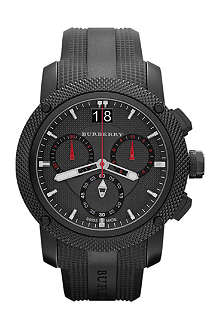 BURBERRY BU9802 Black-plated chronograph sports watch